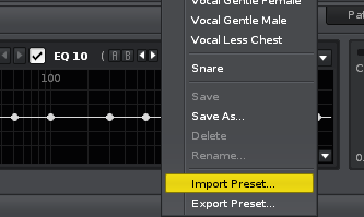 Import preset screenshot